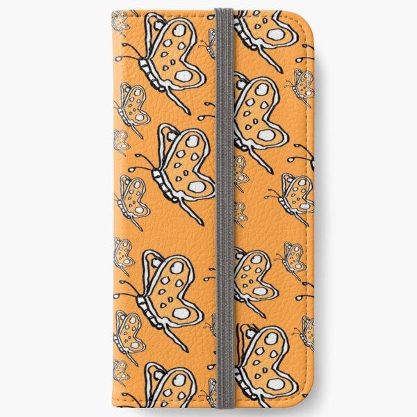 Vintage Butterfly pattern on orange melon background iPhone Wallet