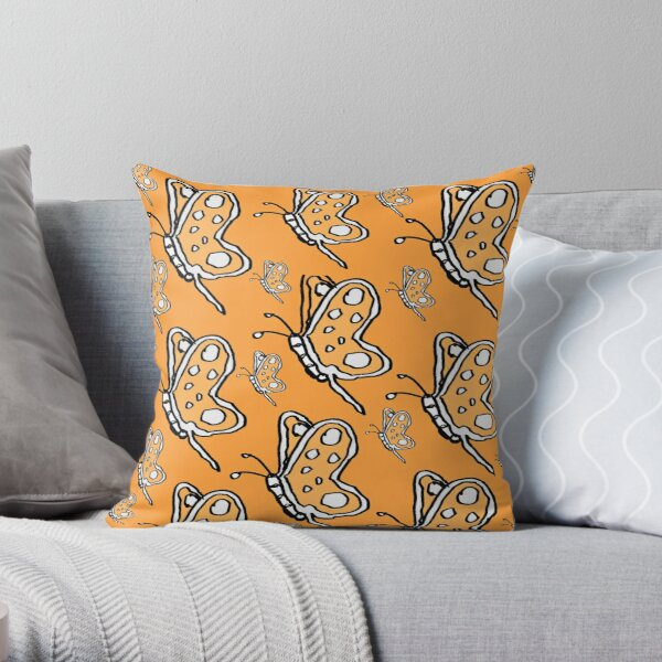 Vintage Butterfly pattern on orange melon background Throw Pillow