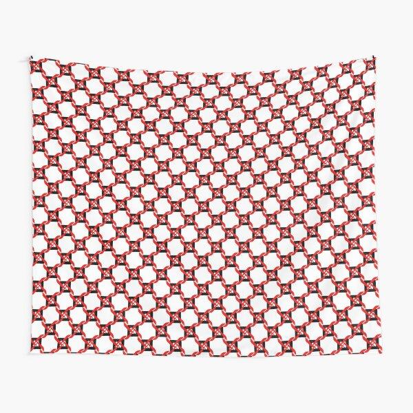 Red Black White Pinwheel Geoemetric Tapestry