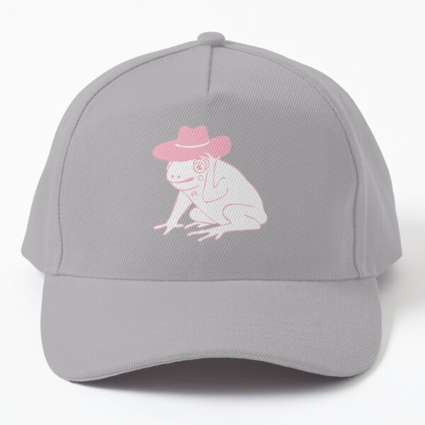 frog cowboy illustration in pink Baseball Cap