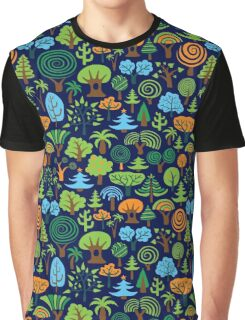 Colorful Assorted Trees Cartoon Style-Blue Background Graphic T-Shirt