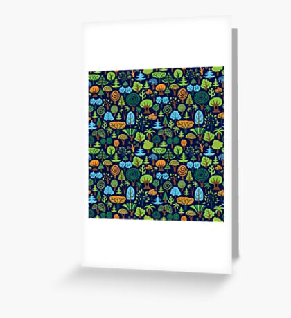 Colorful Assorted Trees Cartoon Style-Blue Background Greeting Card