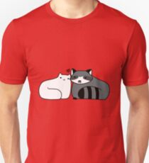 Raccoon and Cat Love Unisex T-Shirt