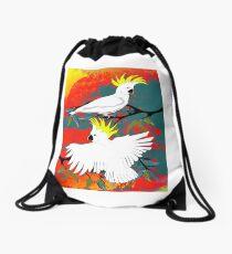 BushFire Sulfur Crested Cockatoos  Drawstring Bag