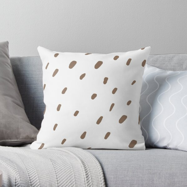 Brown and White Simple Modern Polka Dot Pattern 2022 Color Trends Behr Wild Mustang N240-6 - Trending Colours Throw Pillow