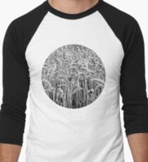 Black and White Wheat Men's Baseball ¾ T-Shirt
