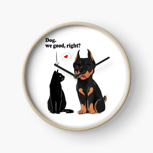 Cat Humor Cat Slaps Dog Funny Dog And Cat Lovers Clock
