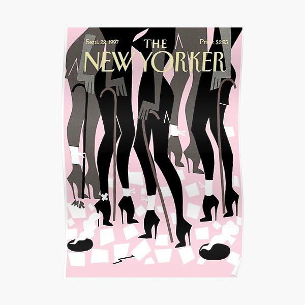 vintage jazz dancers new yorker cover Poster