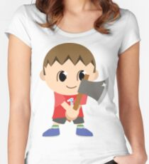 Chibi Animal Crossing Villager Vector Women's Fitted Scoop T-Shirt