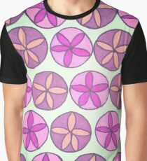 Pink and Purple Flower Pattern Graphic T-Shirt