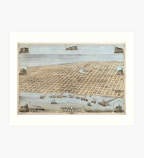 Vintage Pictorial Map of Galveston (1871) Art Print