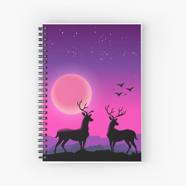 two deers in a beautiful pink landscape  Spiral Notebook