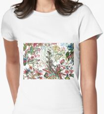 Design created by Stephen Bowers after late 18th-century water-colour and block prints of fleurs tropicales et palmiers for toile de Jouy Women's Fitted T-Shirt