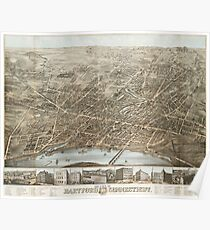 Vintage Pictorial Map of Hartford CT (1877) Poster