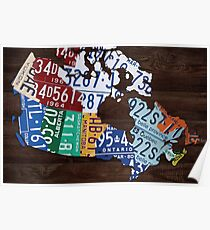 Map of Canada Handmade License Plate Art Print - Dark Stain Poster