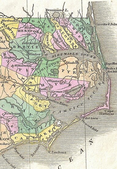 Outer Banks and Eastern North Carolina Map (1827) \