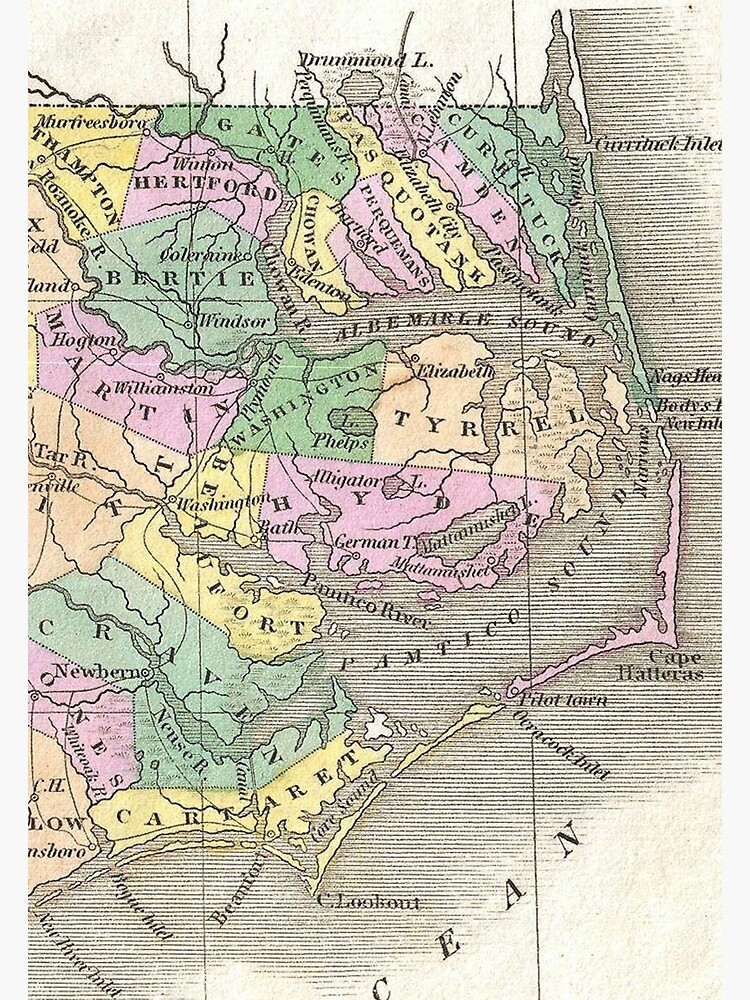 Outer Banks and Eastern North Carolina Map (1827)   Photographic Print