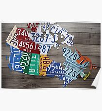 Map of Canada Vintage License Plate Art - Grey Stain Poster