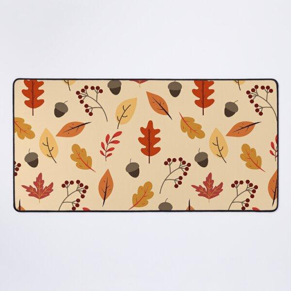 Fall Leaves and Acorns Autumn Pattern Desk Mat