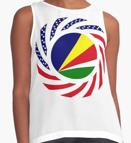 Seychellois American Multinational Patriot Flag Series Sleeveless Top