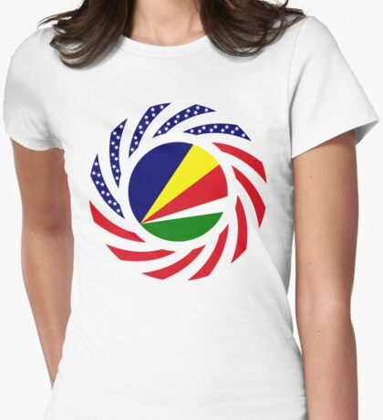 Seychellois American Multinational Patriot Flag Series T-Shirt