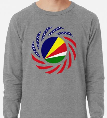 Seychellois American Multinational Patriot Flag Series Lightweight Sweatshirt