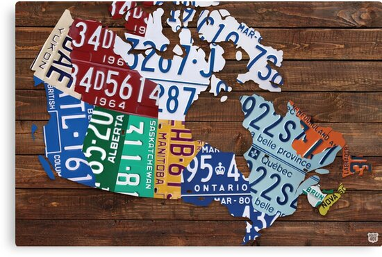 Map of Canada License Plate Rustic Art Reclaimed Wood Canvas