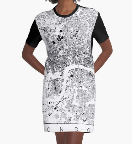 London Map Schwarzplan Only Buildings Urban Plan Graphic T-Shirt Dress