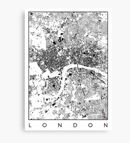 London Map Schwarzplan Only Buildings Urban Plan Canvas Print