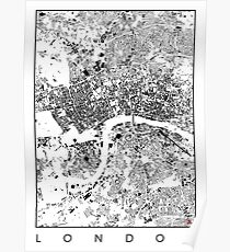 London Map Schwarzplan Only Buildings Urban Plan Poster