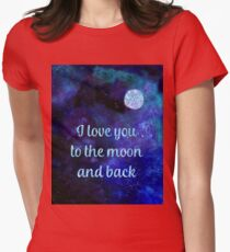 I love you to the moon and back watercolour and silver foil effect art Womens Fitted T-Shirt