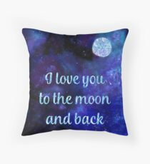 I love you to the moon and back watercolour and silver foil effect art Throw Pillow