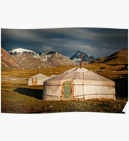 Traditional Kazakh Yurt in the Altai  Poster
