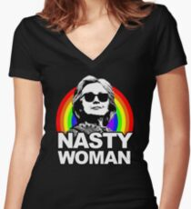 Hillary Clinton Nasty Woman Rainbow Women's Fitted V-Neck T-Shirt