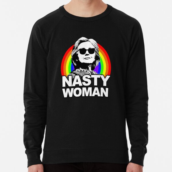 Hillary Clinton Nasty Woman Rainbow Lightweight Sweatshirt