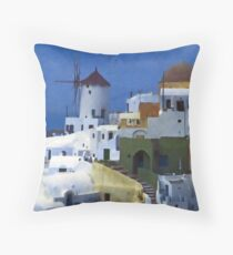 symphony in white and blue Throw Pillow