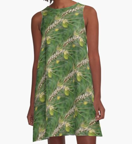Dried Tall Grass Nature Pattern A-Line Dress