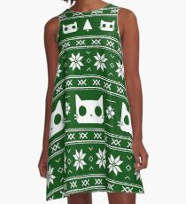 Holiday Cat Sweater (Green) A-Line Dress