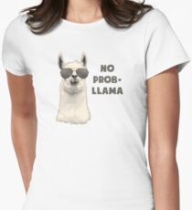 No Problem Llama Womens Fitted T-Shirt