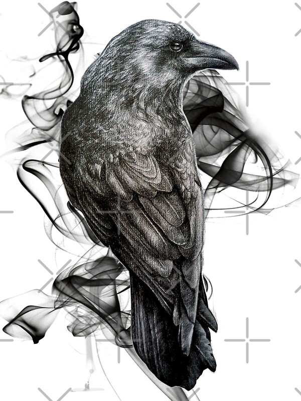 Crow gothic bird raven realism drawing sketch tattoo for Ravens face tattoos