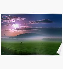 Beautiful sunset over green field. Poster