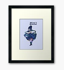Welcome to Wonderland - Blue Framed Print