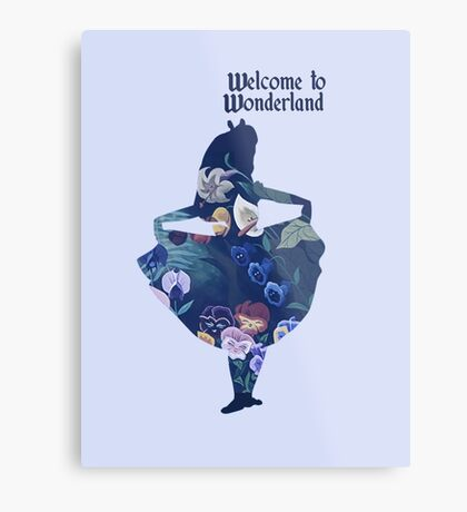 Welcome to Wonderland - Blue Metal Print