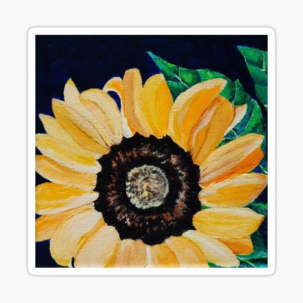 Yellow sunflower on a dark blue background Sticker
