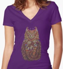 Maine Coon Cat Totem Women's Fitted V-Neck T-Shirt