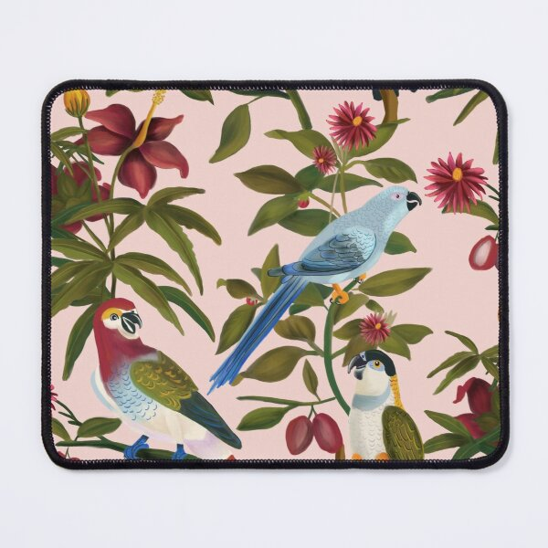 Pink Floral Parrot Pattern Mouse Pad