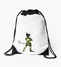 Never Grow Up Drawstring Bag