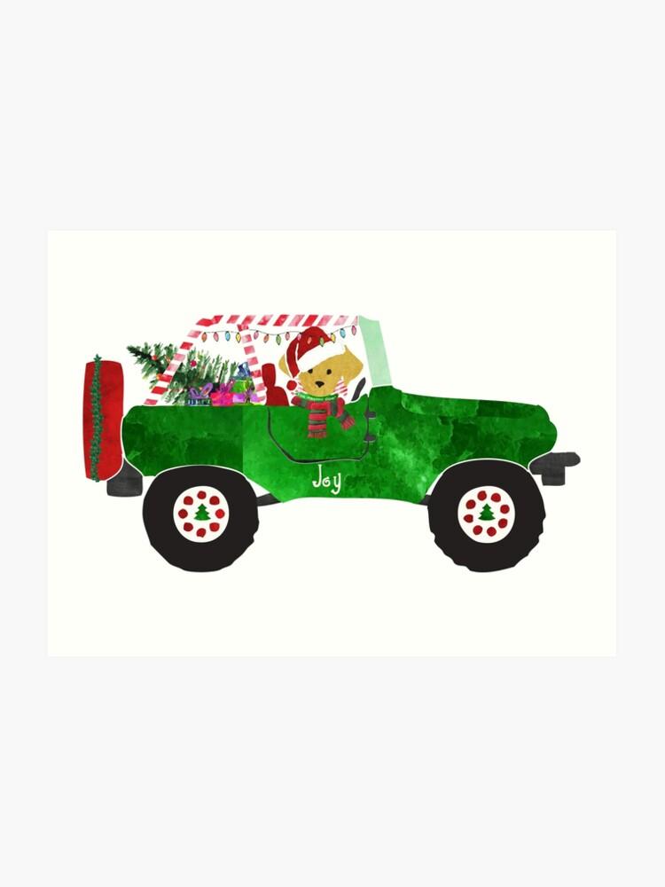 Christmas Jeep.Preppy Dog Christmas Jeep Retriever Puppy Art Print