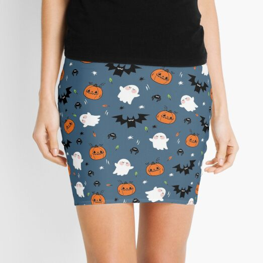 Halloween pattern pumpkin ghost bat spider cute background  Mini Skirt