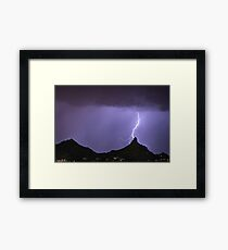 Pinnacle Peak Lightning Bolt Framed Print